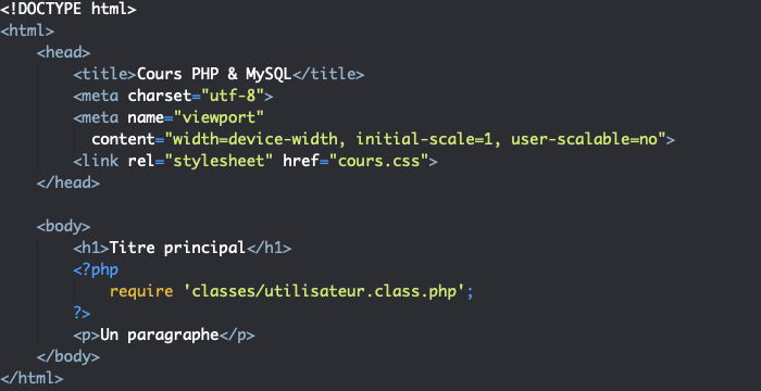 On inclue notre classe avec une instruction require en PHP