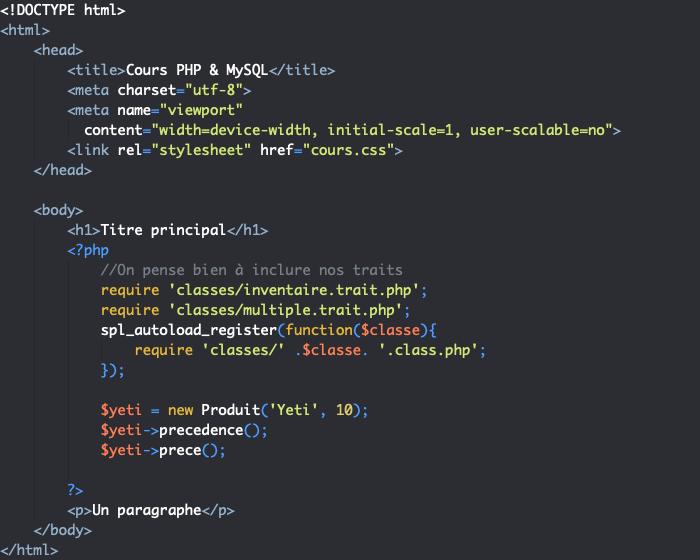 On utilise insteadof pour définir la précédence et as pour renommer une méthode d'un trait en PHP objet