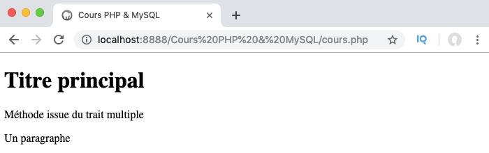 Exemple d'utilisation de insteadof pour gérer les conflits entre traits en PHP objet