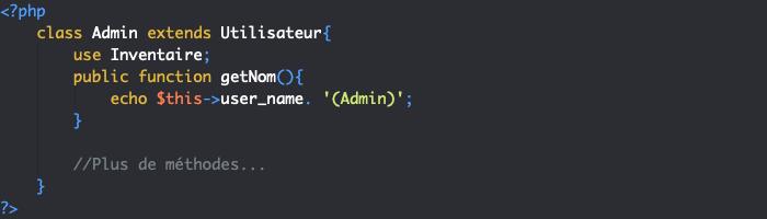 En cas de surcharge d'une méthode en PHP objet, la méthode du trait est prioritaire
