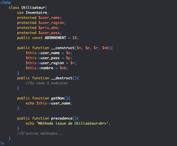 Utilisation des traits et ordre de précédence en cas de surcharge d'une méthode en PHP objet