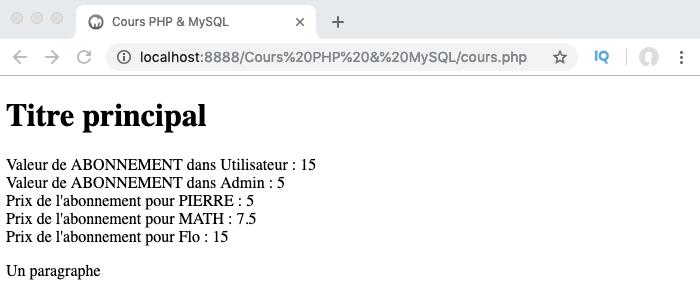 Exemple d'utilisation d'une constante de classe depuis l'extérieur de la classe en PHP