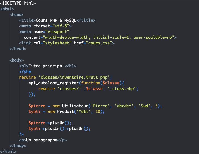 Définition et utilisation des traits en PHP objet