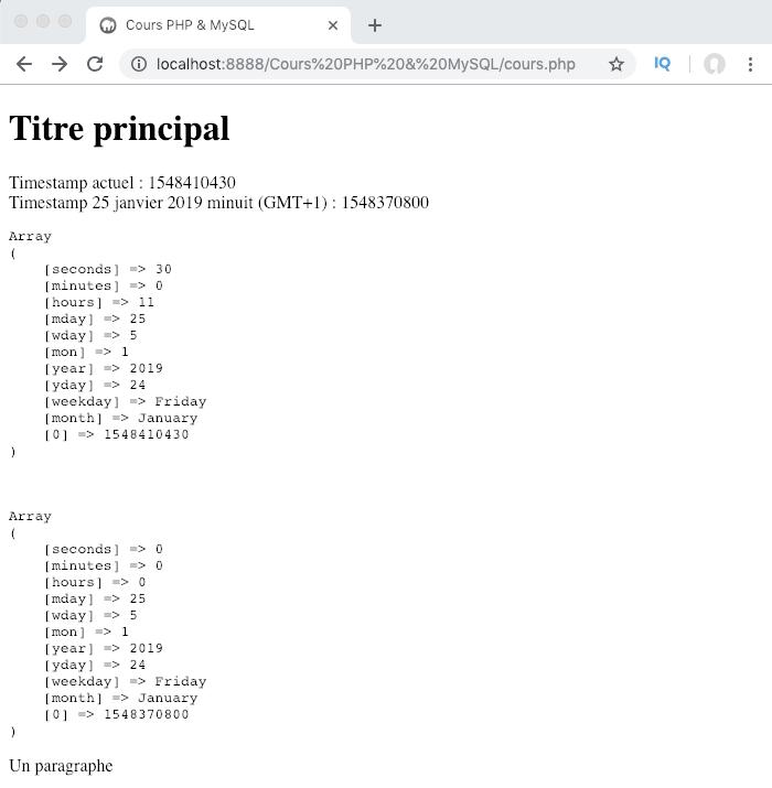 Utilisation de la fonction getdate en PHP et récupération d'une timestamp
