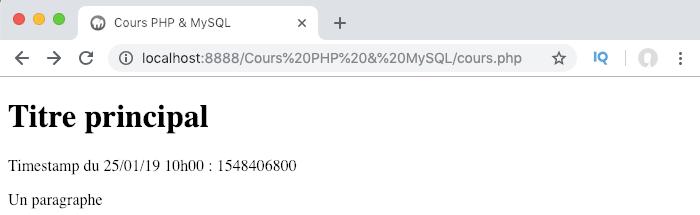 Récupérer le timestamp courant en PHP avec la fonction time