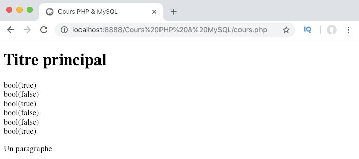 Exemple d'utilisation des opérateurs de comparaison en PHP et résultats renvoyés