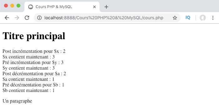Présentation et exemple d'utilisation des opérateurs d'incrémentation et de décrémentation PHP