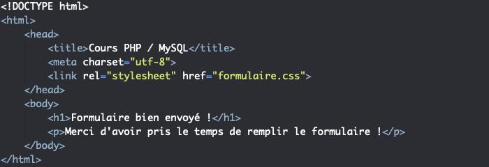 Page de renvoi du formulaire HTML