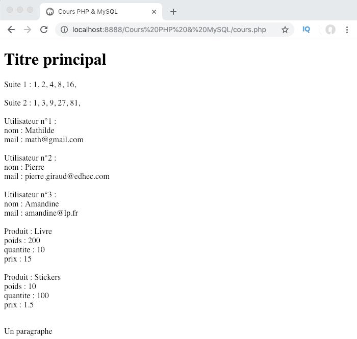 On utilise une boucle foreach pour parcourir les valeurs d'un tableau multidimensionnel PHP et les afficher