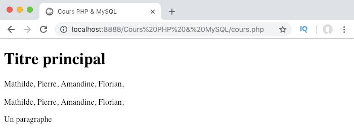 On parcourt notre tableau PHP avec une boucle for pour afficher toutes les valeurs
