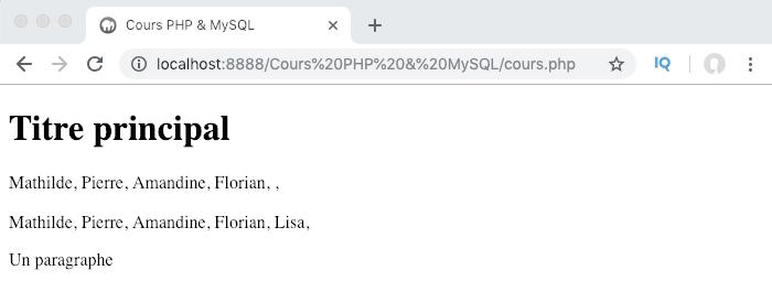 On utilise une boucle PHP foreach pour parcourir notre tableau numéroté