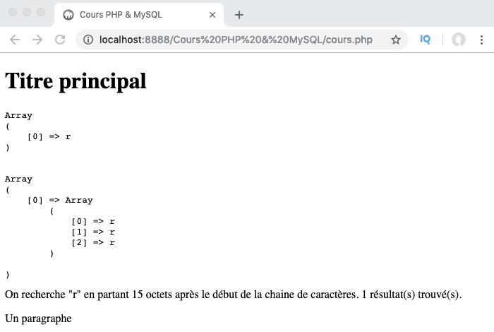 Exemple d'utilisation de la fonction PHP preg_match