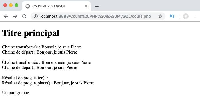 Exemple d'utilisation de la fonction PHP preg_replace