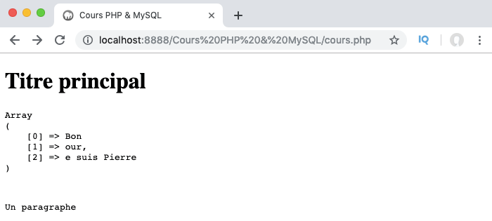 Exemple d'utilisation de la fonction PHP preg_split