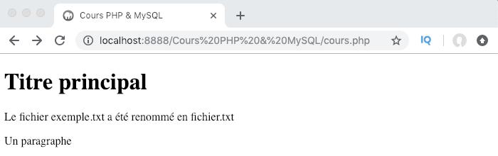 Renommer un fichier en PHP avec la fonction rename