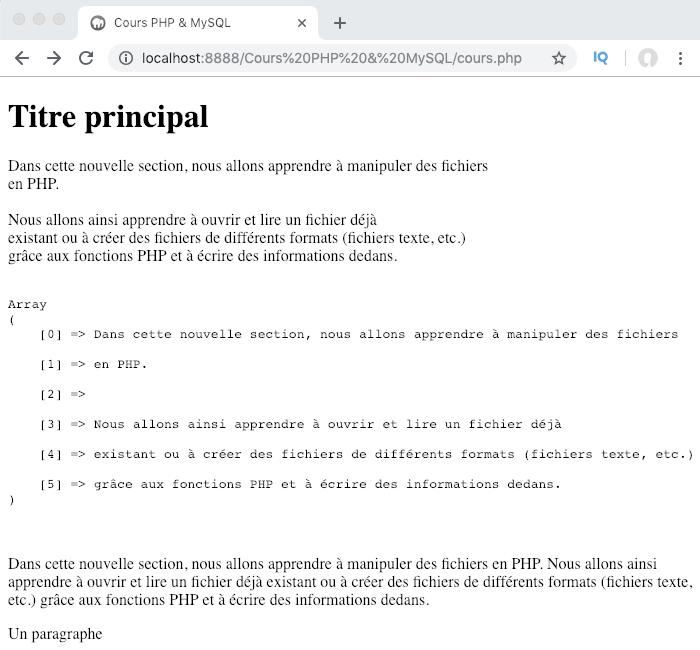 Pour afficher les retours à la ligne dans un fichier PHP on utilise la fonction nl2br