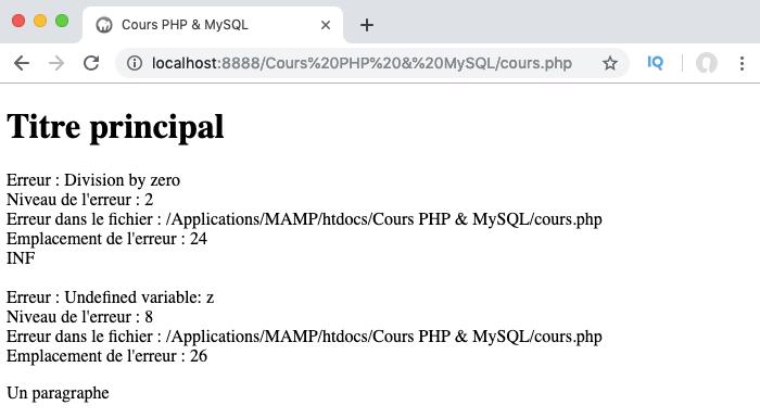 Création d'un gestionnaire d'erreurs PHP