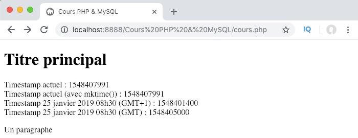 Exemple d'utilisation des fonctions mktime gmmktime en PHP