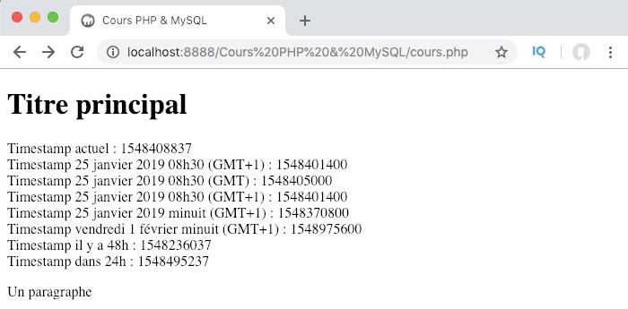 Exemple d'utilisation de la fonction strtotime en PHP