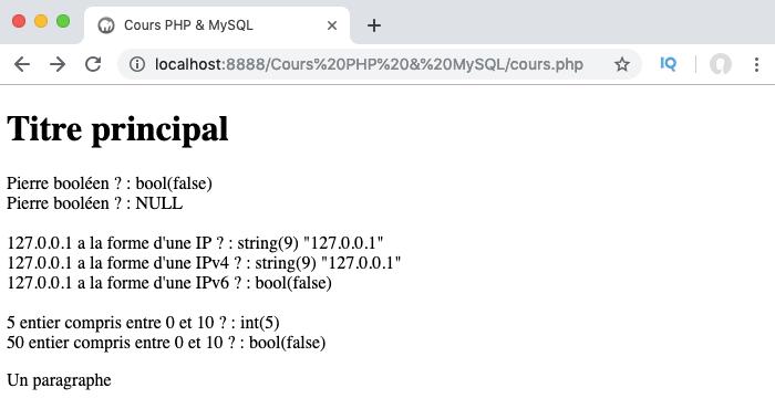 Liste et exemple d'utilisation des drapeaux ou options des filtres en PHP