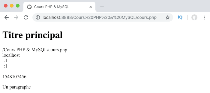 Présentation et exemple d'utilisation de la variable superglobale PHP server