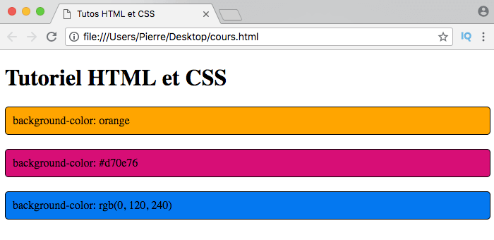 On utilise background-color en CSS pour modifier la couleur de fond des éléments HTML