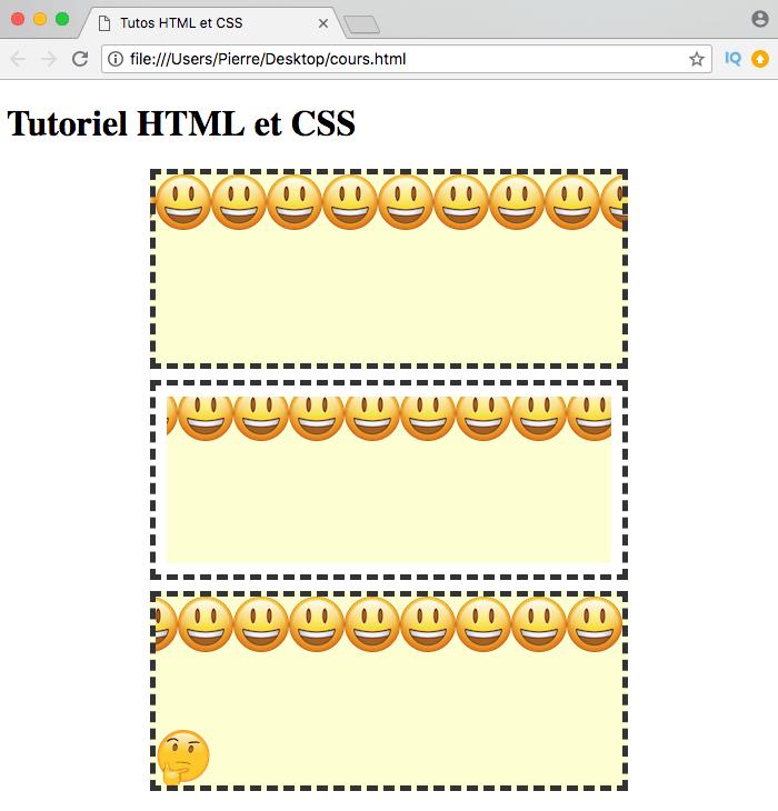 Résultat de l'utilisation de la propriété CSS background