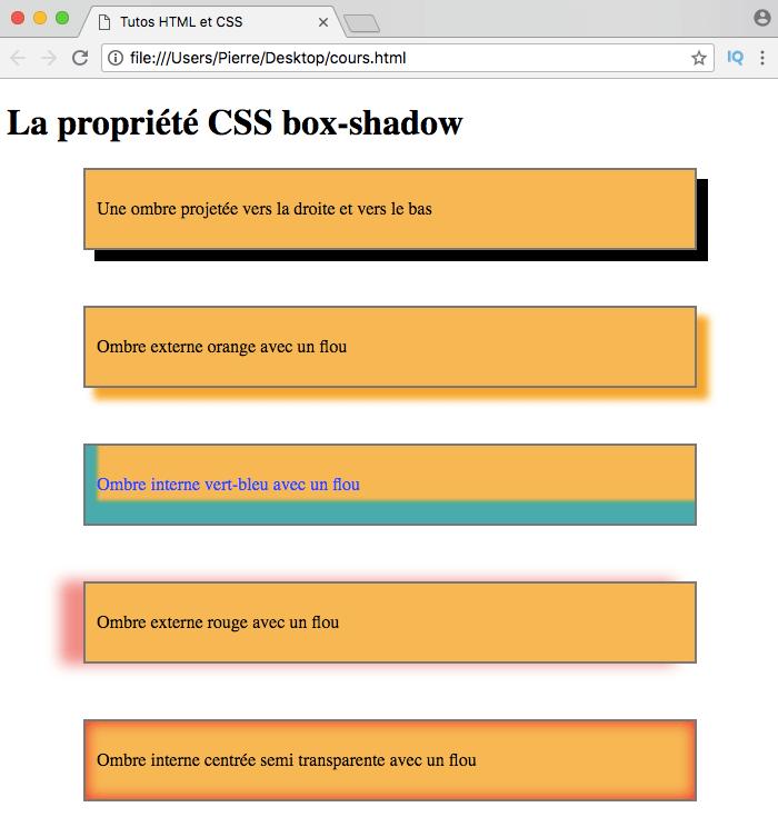 On peut régler le flou gaussien avec box-shadow en CSS