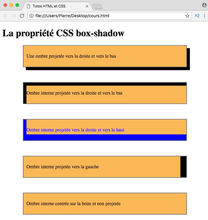 On crée des ombres de chaque côté des éléments HTML et une ombre interne avec box-shadow inset