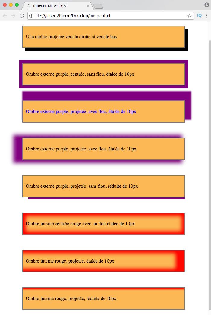 On crée des ombres qui dépassent plus ou moins des éléments avec box-shadow en CSS