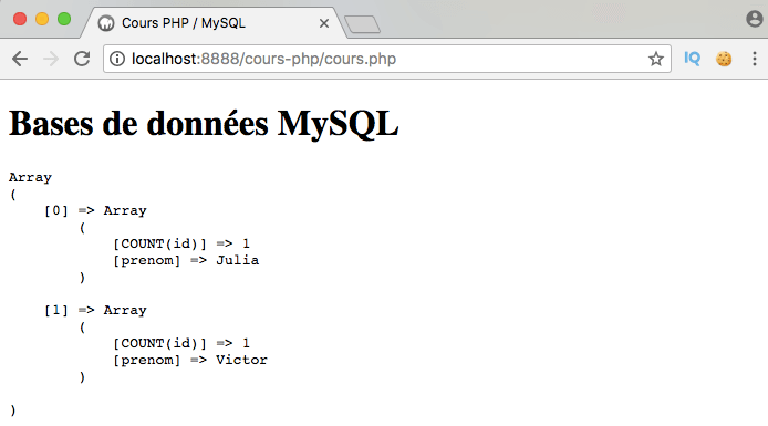 Présentation et exemple d'utilisation de l'instruction SQL having avec PDO PHP