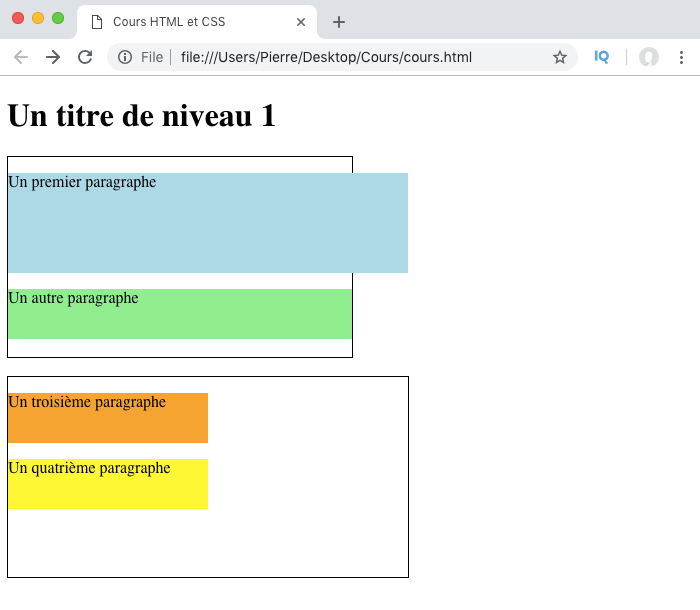 Illustration des problèmes de dépassement des éléments avec width en CSS avec élément parent