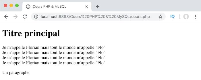 Résultat de l'utilisation du caractère d'échappement antislash en PHP