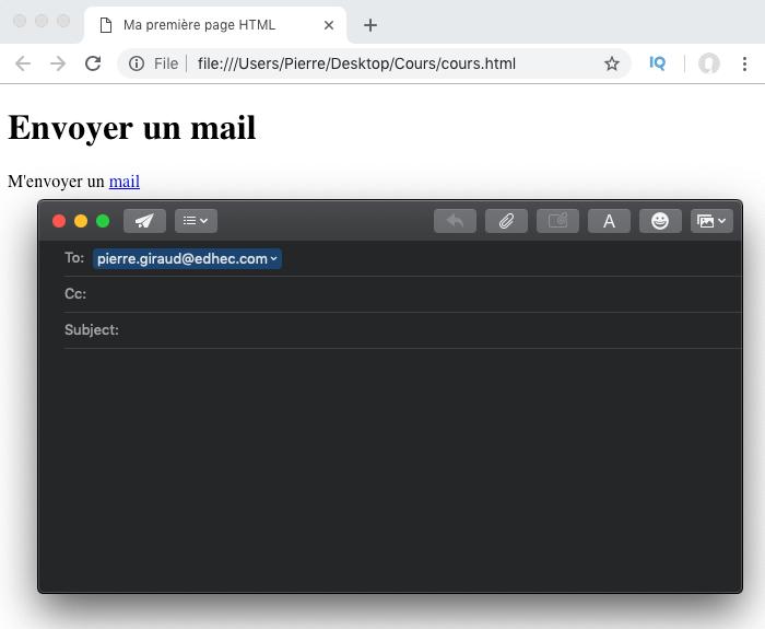 Exemple élément HTML a envoi de mail ouverture messagerie par défaut