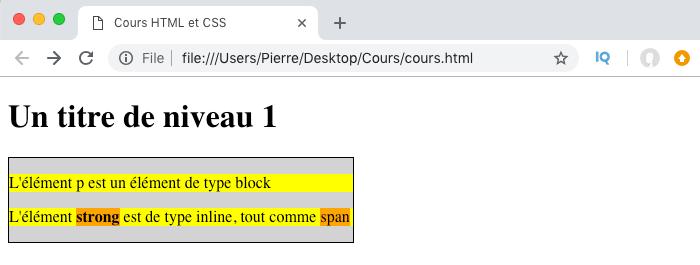 Affichage d'éléments de type block
