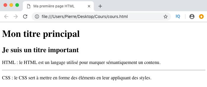 Résultat visuel de l'utilisation de l'élément HTML hr