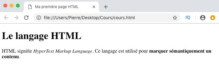 Résultat visuel de l'utilisation d'un élément HTML em