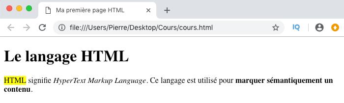 Résultat visuel de l'utilisation d'un élément HTML mark