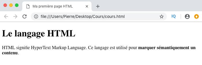 Résultat visuel de l'utilisation d'un élément HTML strong