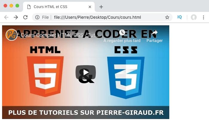 La vidéo youtube a bien été intégrée dans notre page HTML grâce à l'élément iframe