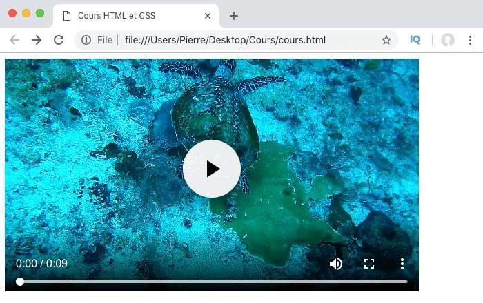 On insère une vidéo dans notre page HTML grâce à l'élément video