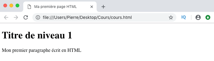 Résultat visuel de notre premier code HTML