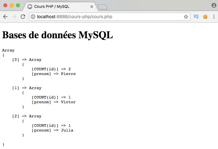 Présentation et exemple d'utilisation de l'instruction SQL group by avec PDO PHP