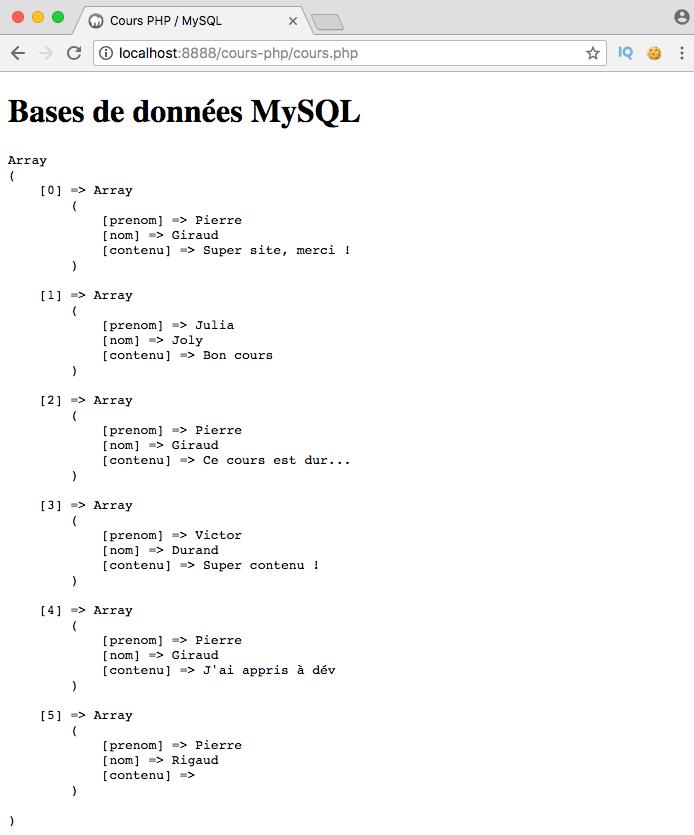 Exemple de création d'un left join SQL avec PDO PHP