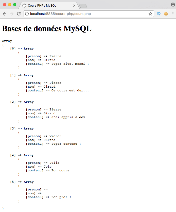 Exemple de création d'un right outer join SQL avec PDO PHP