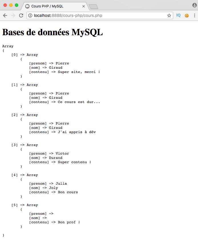 Exemple de création d'un right outer join SQL avec PDO PHP
