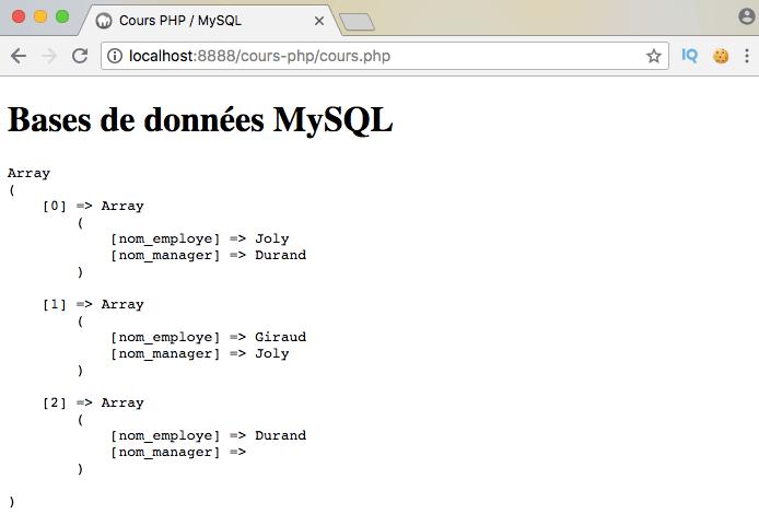 Exemple de création d'un self join SQL avec PDO PHP
