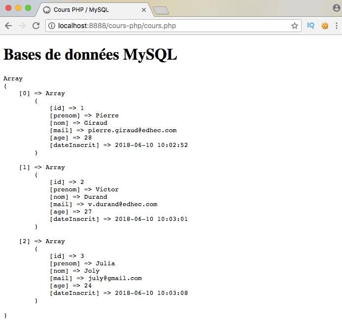 Exemple d'utilisation de l'opérateur SQL exists dans une sous requête via PDO PHP