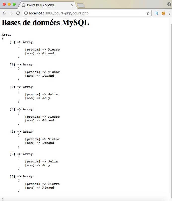 Exemple d'utilisation d'union all en sql avec pdo php