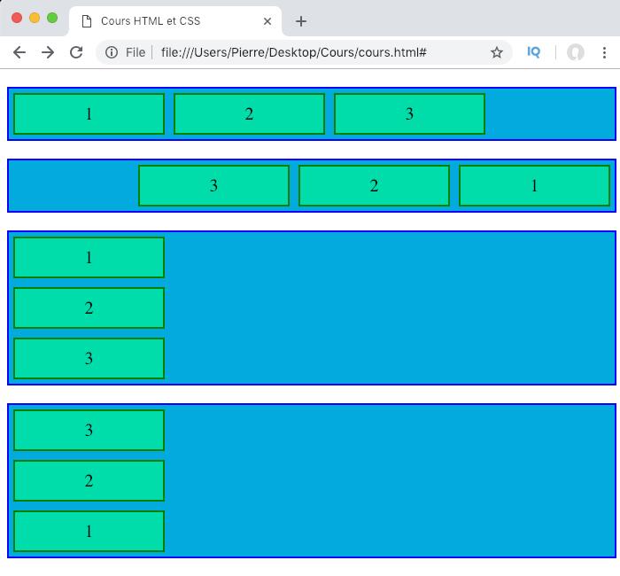On controle la direction des éléments flexibles avec la propriété CSS flex-direction